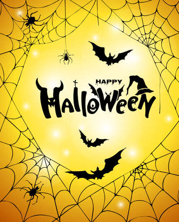 Happy halloween festive banner with spider web, bats and lettering inscription on orange background. Halloween card. Vector illustration.