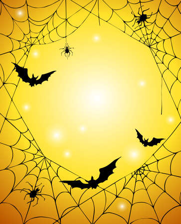 Halloween banner with cobweb, spiders and bats on orange background. Halloween card. Vector illustration.