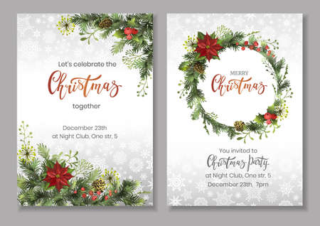 Christmas flyers or party invitation template with pine tree branches and cones, holly berries, poinsettia. Vector colorful illustration for celebratory event announcement.