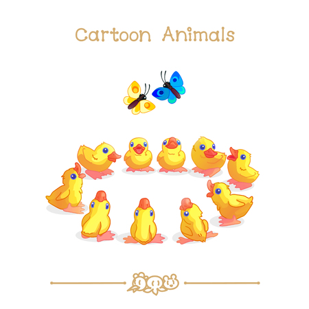 vector illustration collection Cartoon Animals. Little yellow ducklings sitting in circle.