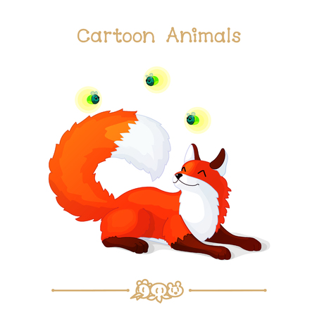 vector illustration collection Cartoon Animals. Lying red foxes and fireflies. Illustration