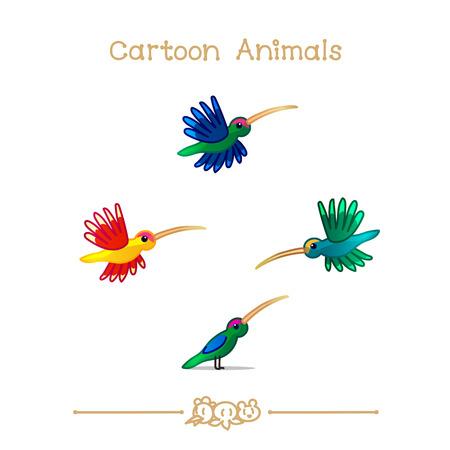 vector illustration collection Cartoon Animals. Colibris.