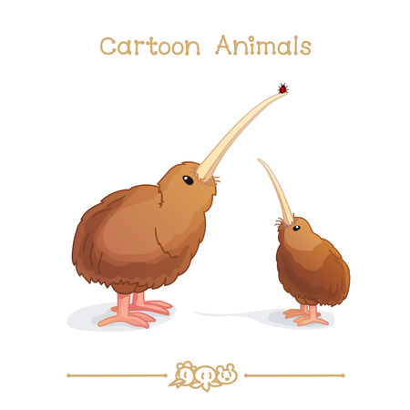 vector illustration collection Cartoon Animals. New Zealand wingless kiwi bird parent and cub looking up on little red bug.