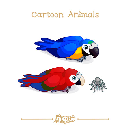 vector illustration collection Cartoon Animals. Two ara parrots  macaw set. Clip art isolated on transparent background. Graphics characters. Hand drawn creatures. Nature design elements