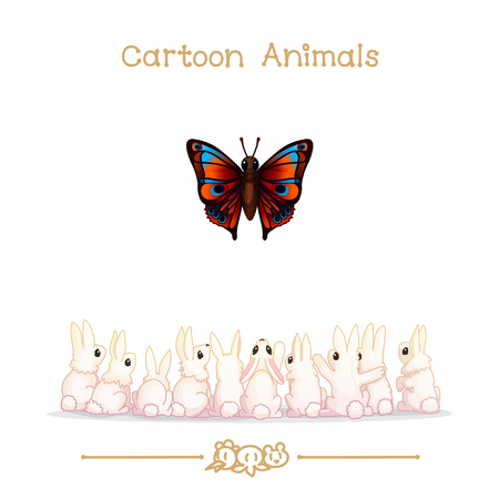 baby playing toy: vector illustration collection Cartoon Animals. Group of white rabbits and butterfly. Clip art isolated on transparent background. Graphics characters. Hand drawn creatures. Nature design elements Illustration
