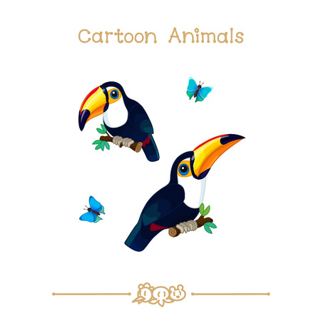 vector illustration collection Cartoon Animals. Brazilian pair of Toco toucans on branch. Clip art isolated on transparent background. Graphics characters. Hand drawn creatures. Nature design elements