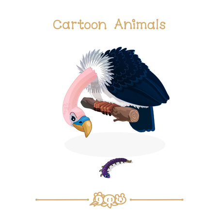 vector illustration collection Cartoon Animals. Predator bird vulture. Clip art isolated on transparent background. Graphics characters. Hand drawn creatures. Nature design elements