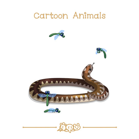 vector illustration collection Cartoon Animals. Coiled viper snake and insects. Illustration