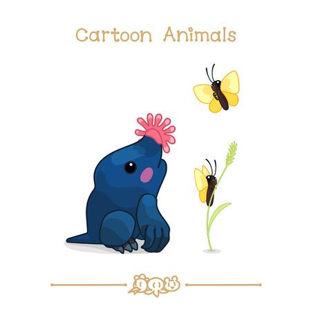 Vector illustration collection Cartoon Animals. Cute star-nosed mole & butterflies.