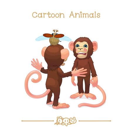 chimpances: ilustración vectorial Animales de dibujos animados. Jóvenes chimpancés (chimpancé, mono) jugando. Clipart aislado en fondo transparente. Caracteres gráficos. Criaturas dibujadas a mano. Elementos de diseño de naturaleza