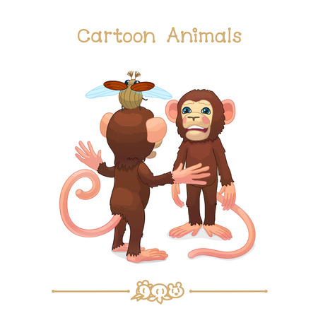 vector illustration collection Cartoon Animals. Young Chimpanzees (chimp, monkey) playing. Clipart isolated on transparent background. Graphics characters. Hand drawn creatures. Nature design elements