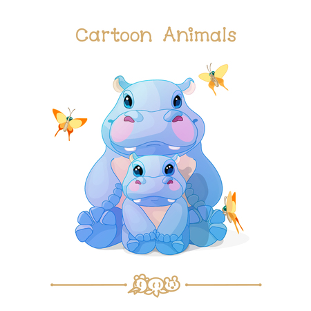 vector illustration collection Cartoon Animals. Hippos family parent cub and butterflies. Clip art isolated on transparent background. Graphics characters. Hand drawn creatures. Nature design elements