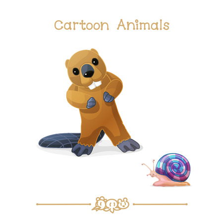 vector illustration collection Cartoon Animals. Beaver and snail. Clip art isolated on transparent background. Graphics characters. Hand drawn creatures. Nature design elements