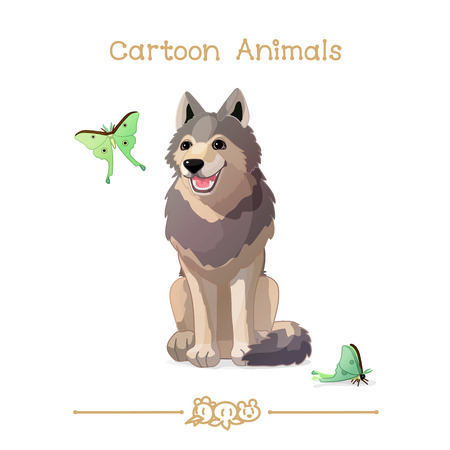 vector illustration collection Cartoon Animals. Gray happy wolf and butterflies. Clip art isolated on transparent background. Graphics characters. Hand drawn creatures. Nature design elements