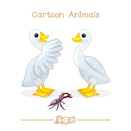 vector illustration collection Cartoon Animals. Goose & stag beetle. Clip art isolated on transparent background. Graphics characters. Hand drawn creatures. Nature design elements Illustration