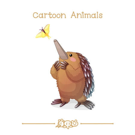 vector illustration collection Cartoon Animals. Echidna and butterfly. Clip art isolated on transparent background. Graphics characters. Hand drawn creatures. Nature design elements