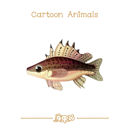 vector illustration collection Cartoon Animals. Ruff fish. Clip art isolated on transparent background. Graphics characters. Hand drawn creatures. Nature design elements