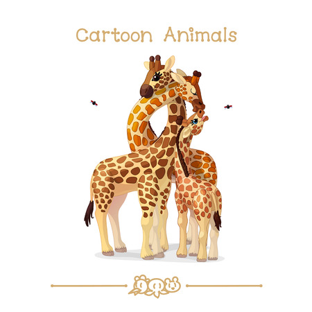Vector illustration collection Cartoon Animals. Giraffes family portrait parents & baby. Illustration