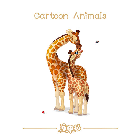 vector illustration collection Cartoon Animals. Giraffes family portrait: mother & baby. Clip art isolated on transparent background. Graphics characters. Hand drawn creatures. Nature design elements