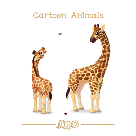 Vector illustration collection Cartoon Animals. Giraffes family portrait father & baby.