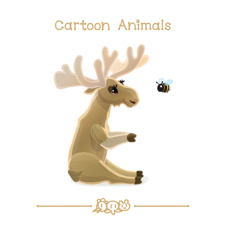 vector illustration collection Cartoon Animals. Moose & bumblebee. Clip art isolated on transparent background. Graphics characters. Hand drawn creatures. Nature design elements