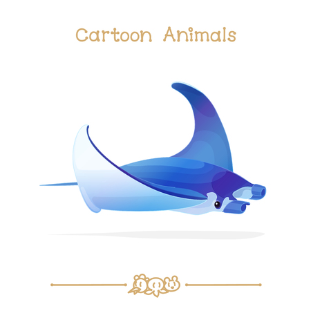 Exotic Manta Ray. Clip art isolated on transparent background. Graphics characters. Hand drawn creatures. Nature design elements