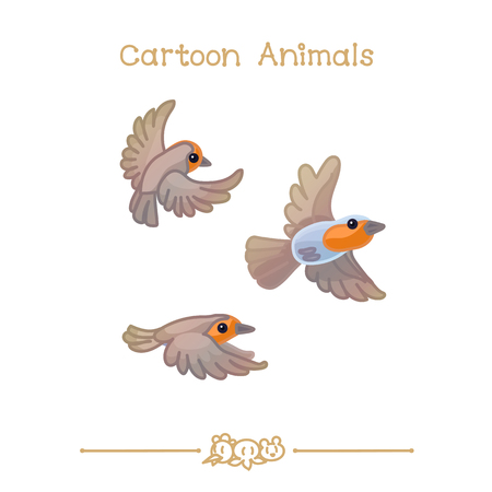 A vector illustration collection Cartoon Animals. Robin Bird. Clip art isolated on transparent background. Graphics characters. Hand drawn creatures. Nature design elements