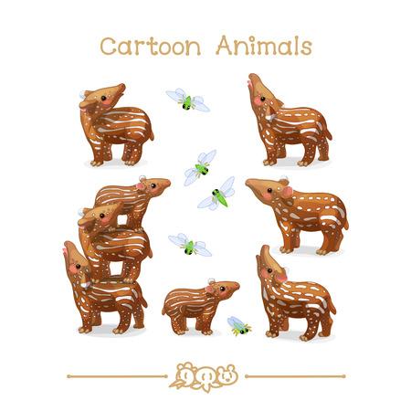 A vector illustration collection Cartoon Animals. Little tapirs