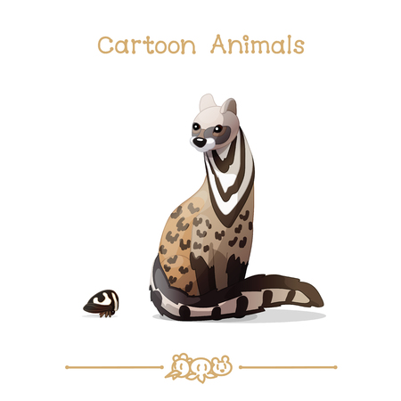 A vector illustration collection Cartoon Animals. Civet cat