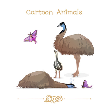daddy long legs: vector illustration collection Cartoon Animals. Emus & butterfly. Clip art isolated on transparent background. Graphics characters. Hand drawn creatures. Nature design elements
