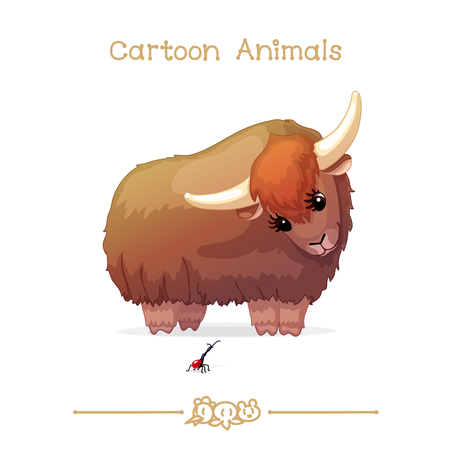 Vector illustration collection Cartoon Animals. Yak and giraffe weevil.