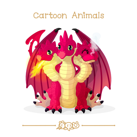 vector illustration collection Cartoon Animals. Three headed red dragon. Clip art isolated on transparent background. Graphics characters. Hand drawn creatures. Nature design elements