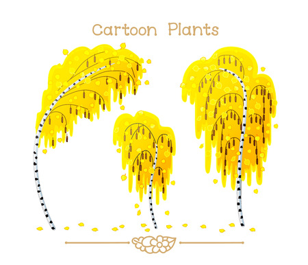 vector illustration collection Cartoon Plants. Autumn yellow foliage birchwood. Detached tree birches. Birch fallen leaves. Clipart isolated on transparent background. Hand drawn graphics.
