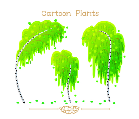 Illustration collection Cartoon Plants. Spring green foliage birchwood. Detached tree birches. Birch fallen leaves. Clipart isolated on transparent background. Hand drawn graphics.