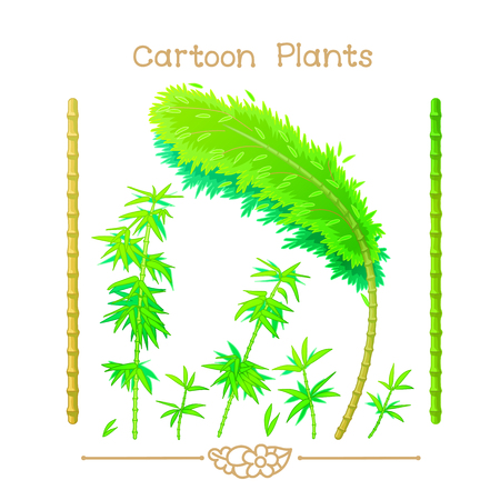 Collection Cartoon Plants. Green brown bamboo stalks, stems with leaves. Jungle forest trees set. Sprouts branch. Clipart isolated on transparent background.