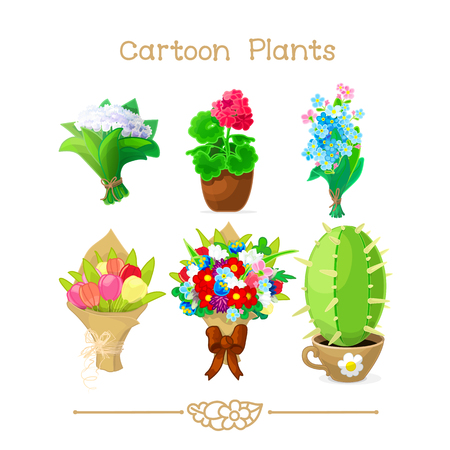 vector illustration collection Cartoon Plants. Closeup colorful flower bouquets bow, house flowers original pot. May lily, cactus, tulips set. Posy paper wrapping. Clipart isolated on transparent background. Illustration