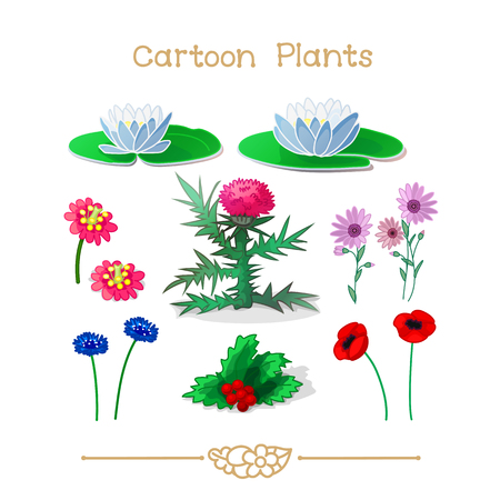 Illustration collection Cartoon Plants. Flowers set. Clipart isolated on transparent background. Hand drawn graphics. Nature design elements