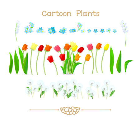 Illustration collection Cartoon Plants. Spring tulips flowers, dandelions set. Clipart isolated on transparent background. Hand drawn graphics. Nature design elements Ilustrace