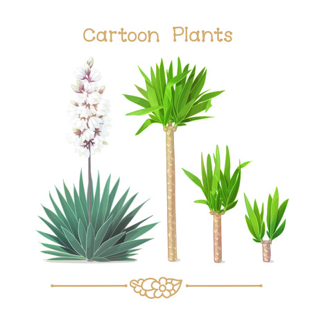 Illustration collection Cartoon Plants. Young shoots of yucca. Houseplant yucca. Blooming common yucca (Yucca filamentosa). Clipart isolated on transparent background. Hand drawn graphics. Illustration