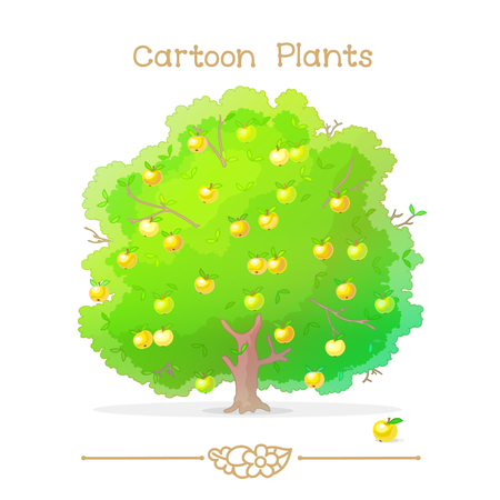 Illustration collection Cartoon Plants. Autumn green tree. Apple tree full of ripe yellow apples in orchard. Clipart isolated on transparent background. Hand drawn graphics.