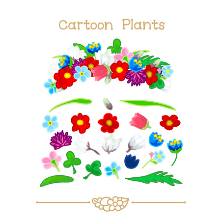 Illustration collection Cartoon Plants. Wildflowers crown set. Colorful headband. Flowers wreath, halos, diadem. Clipart isolated on transparent background. Hand drawn graphics.