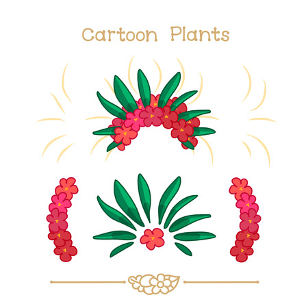 headband: Illustration collection Cartoon Plants. Red flowers crown set. Colorful headband. Flowers wreath, halos, diadem. Clipart isolated on transparent background. Hand drawn graphics.