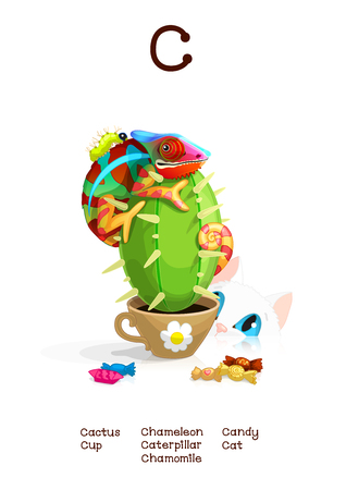 English Alphabet series of Amusing Animals. Cartoon illustration for letter C: Caterpillar, Cactus, Chameleon, Candy, Cup, Cat. Abc animals posters collection. Wall art for kids. Baby pics. Hand drawn creatures. EPS 10
