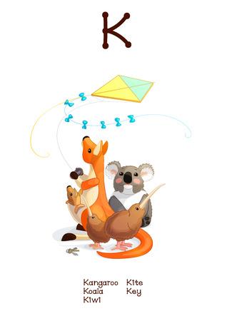 az: English Alphabet series of Amusing Animals. Cartoon illustration for letter K: Koala, Kangaroo, Kiwi, Kite, Key. Abc animals posters collection. Wall art for kids. Baby pics. Hand drawn creatures. EPS 10