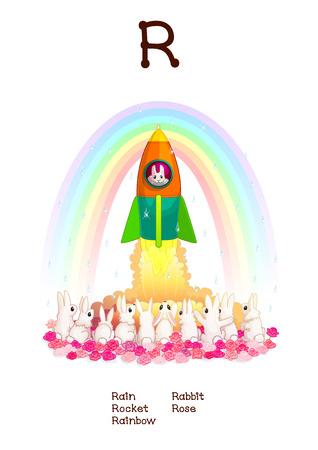Inglés series Alfabeto de animales divertidos. Ilustración de dibujos animados de la letra R: Lluvia, arco iris, Cohete, Rose, Conejo. Abc recogida de animales carteles. arte de la pared para los niños. fotos de bebé. Criaturas dibujadas a mano. 10 EPS