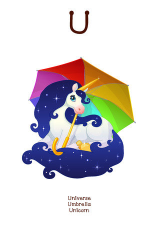 English Alphabet series of Amusing Animals. Cartoon illustration for letter U: Universe, Umbrella, Unicorn. Abc animals posters collection. Wall art for kids. Baby pics. Hand drawn creatures. EPS 10