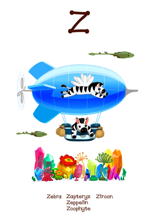 English Alphabet series of Amusing Animals. Cartoon illustration for letter Z: Zoophyte, Zircon, Zapteryxes, Zeppelin, Zebra. Abc animals posters collection. Wall art for kids. Baby pics. Hand drawn creatures. EPS 10 Çizim