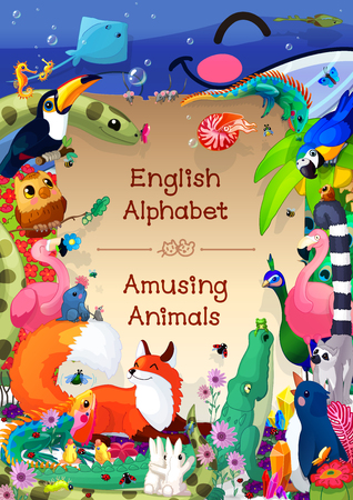 safari animal: Book cover for English Alphabet (Latin) series of Amusing Animals. Woodland banner. Title sheet. Abc collection. Baby pics. Hand drawn illustration. School manual for teacher. Creatures for kids. A4