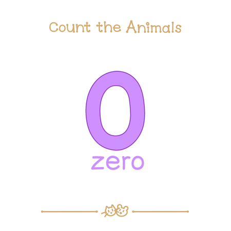 vector cartoon illustration for zero, 0 learn counting with series of Count the Animals. Baby shower. School manual for teachers. Symbol and designation. Clipart isolated on white background. EPS 10