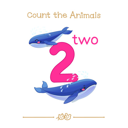 vector cartoon illustration for two, 2 learn counting with series of Count the Animals. Baby shower. School manual for teachers. Symbol and designation. Clipart isolated on white background. EPS 10 Illustration